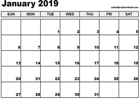 printable calendar january 2019 calendar january 2019 happyeasterfrom com