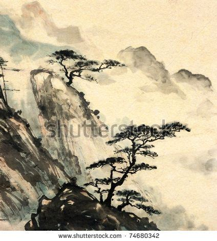 chinese landscape painting by ibird via shutterstock