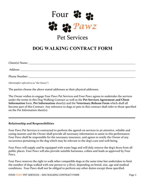 Dog Walking Contract Printable Contracts Pet Contract Template