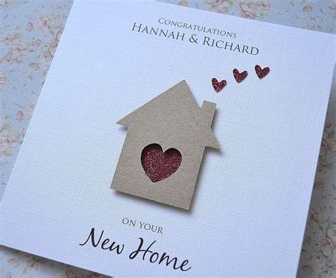 Handmade New Home Cards - personalised new home house card handmade house and hearts