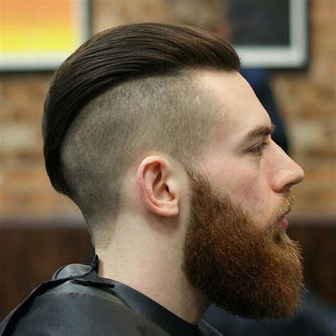 slick back hair and beard disconnected undercut haircut for men men s haircuts