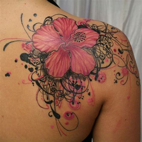 pretty shoulder tattoos beautiful pink and black hibiscus flower on