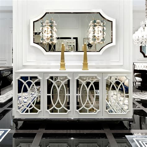 white mirrored buffet cabinet sideboards glamorous white mirrored credenza white tv