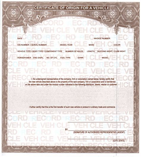 certificate of origin for a vehicle template buy mco mso manufactures certificates of origin