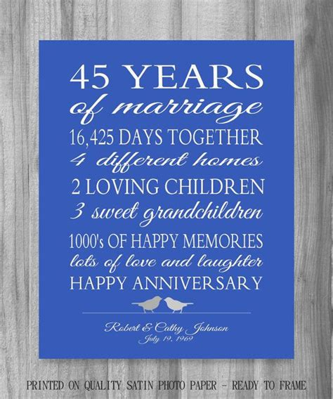 45th anniversary gift parents sapphire blue personalized story stats important events