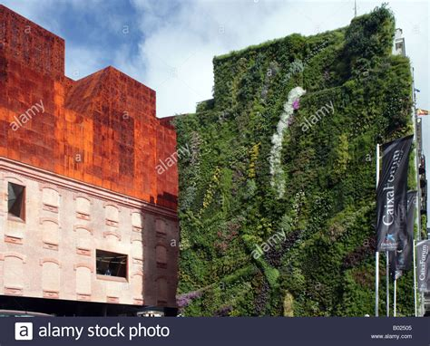caixa forum museum and vertical garden madrid stock photo