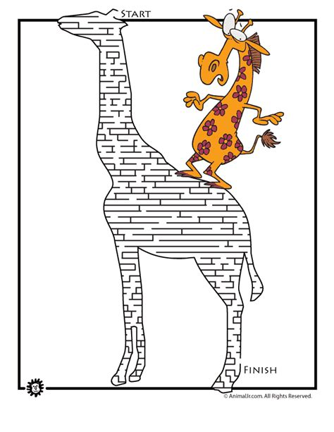 printable cheetah maze giraffe animal maze woo jr kids activities