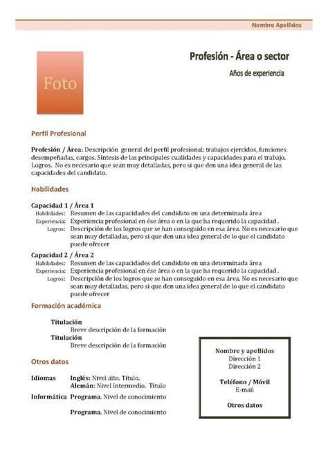 Plantilla De Curriculum Con Foto Curr 237 Culum Vitae Modelo 1 Tienda De Curriculum Vitae