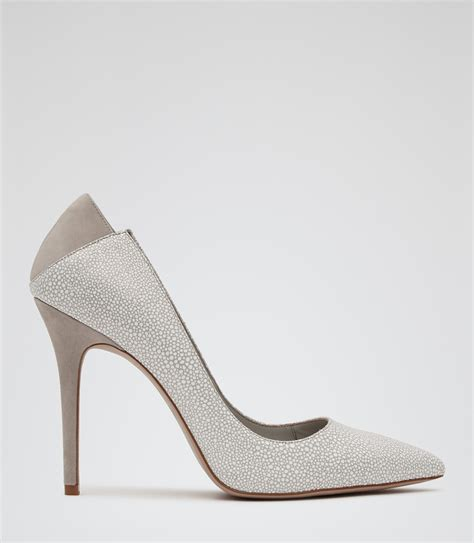 Jaime Shoes by Jaime Pale Grey Patterned Court Shoes Reiss