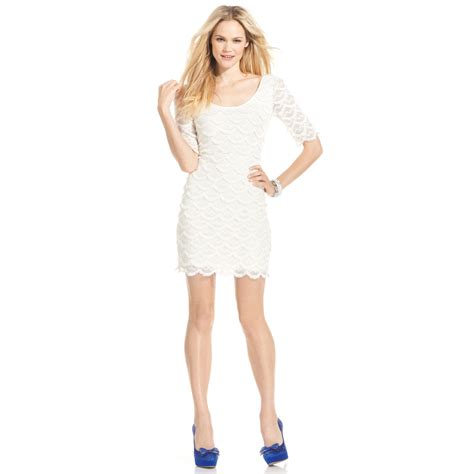Guess Dress Spandek guess sleeve scalloped lace dress in beige ivory