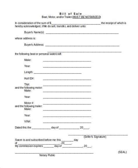 trailer bill of sale form 9 free documents in word pdf - Bill Of Sale For Boat Motor And Trailer