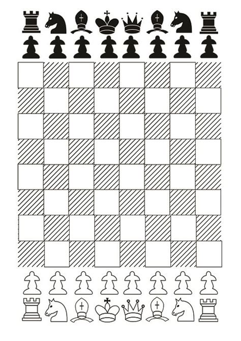 printable paper chess set chess board with chess pieces printable template free