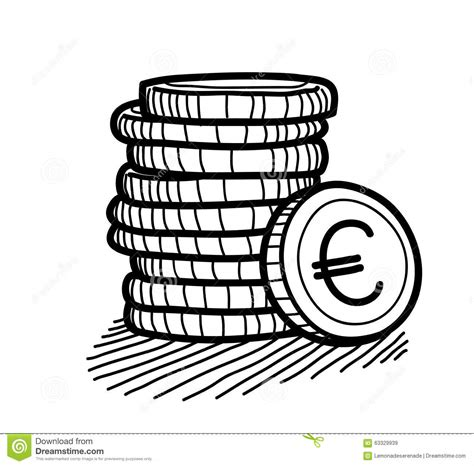 doodle coins stack of coins doodle stock vector image 63329939