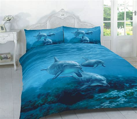 Bed Cover Set Dolphin Uk 180x200 luxury 3d design dolphin duvet cover set with pillowcase