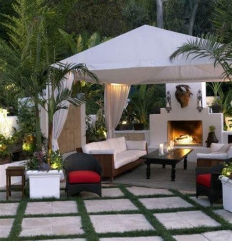 backyard gazebo  fireplace outdoor furniture design