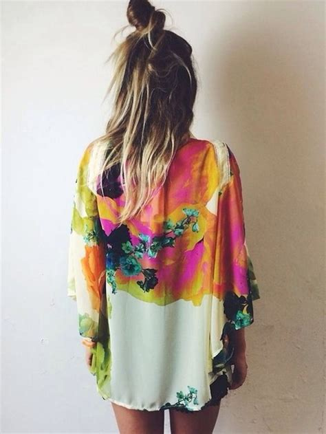 colorful kimono blouse rainbow flowers robe kimono artsy cardigan