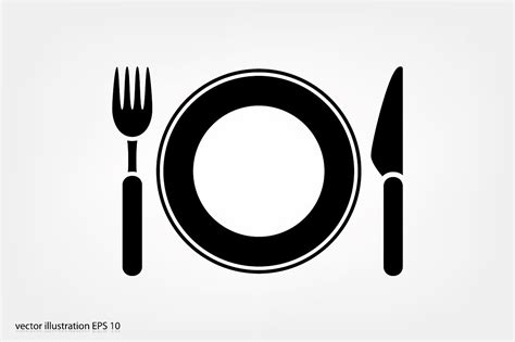 fork knife and plate icon icons creative market