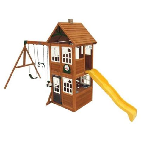 swing sets home depot cedar summit willowbrook wooden playset swing set f24952