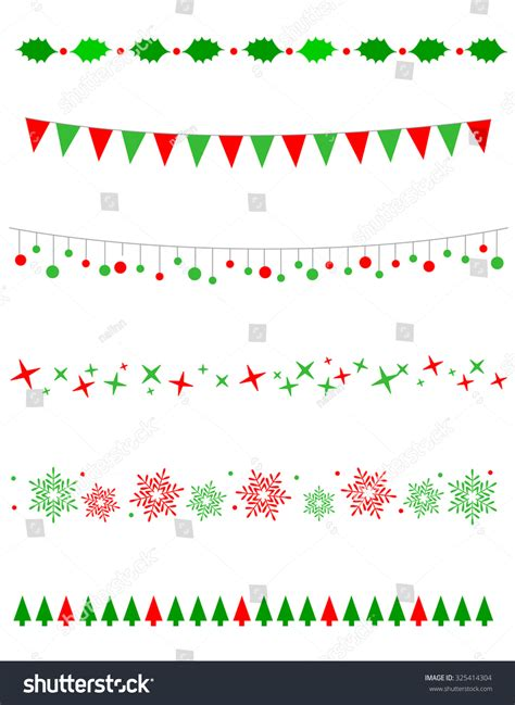 christmas pattern border collection on christmas borders divider graphics stock