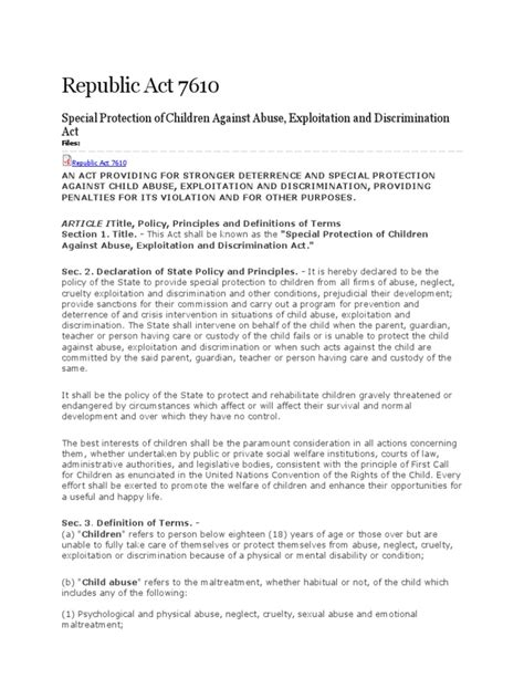 child exploitation and obscenity section republic act 7610 docx obscenity