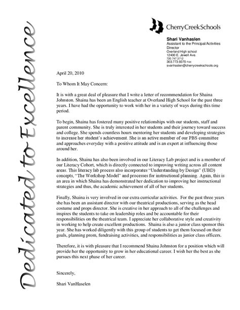 examples of recommendation letters for teacher the year