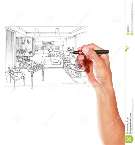 room sketch free graphical sketch by pen of an interior living room stock illustration image 26266008