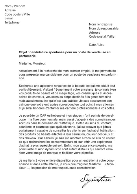 Exemple Lettre De Motivation Vendeuse Etudiante Lettre De Motivation Sephora Vendeuse Mod 232 Le De Lettre