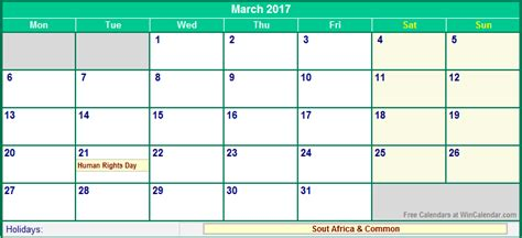 printable monthly calendar 2017 south africa march 2017 south africa calendar with holidays for