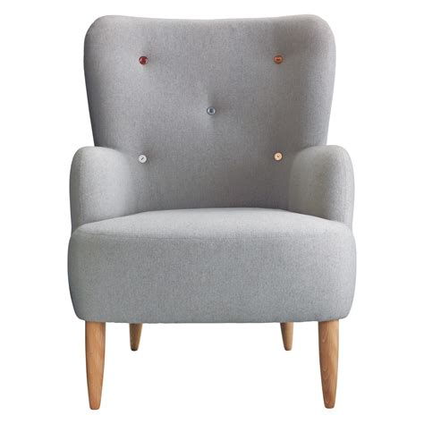 armchair media wilmot grey wool mix armchair with multi coloured buttons