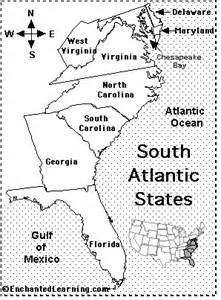 southern us map with states and capitals south atlantic map quiz printout enchantedlearning
