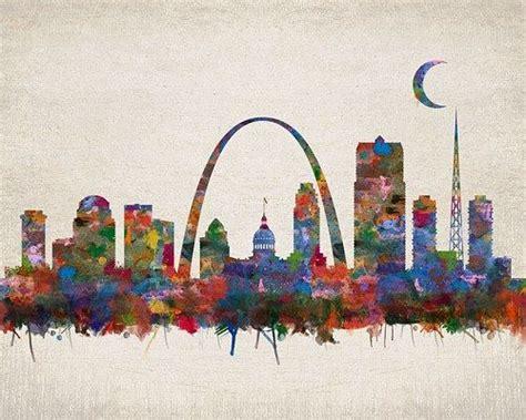 watercolor tattoo st louis st louis missouri city skyline watercolor faux vintage