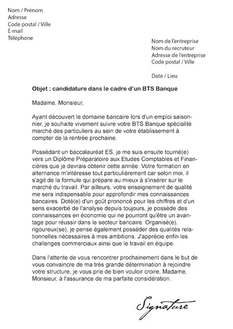 Modele Lettre De Motivation Banque Pdf modele lettre de motivation emploi banque document