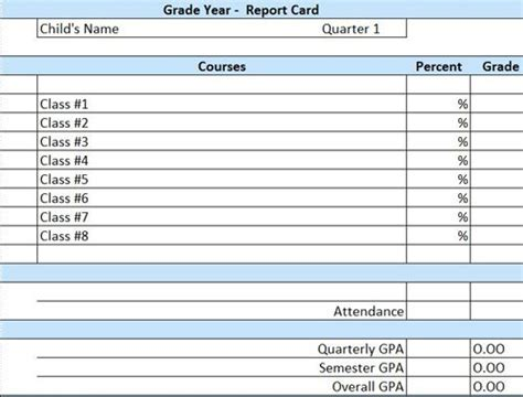 Report Card Template Excel Templates Data School Report Card Template Excel