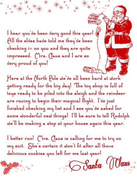 create a printable letter from santa free printable letter from santa things i would like to