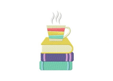 good home design books book stack with coffee machine embroidery design