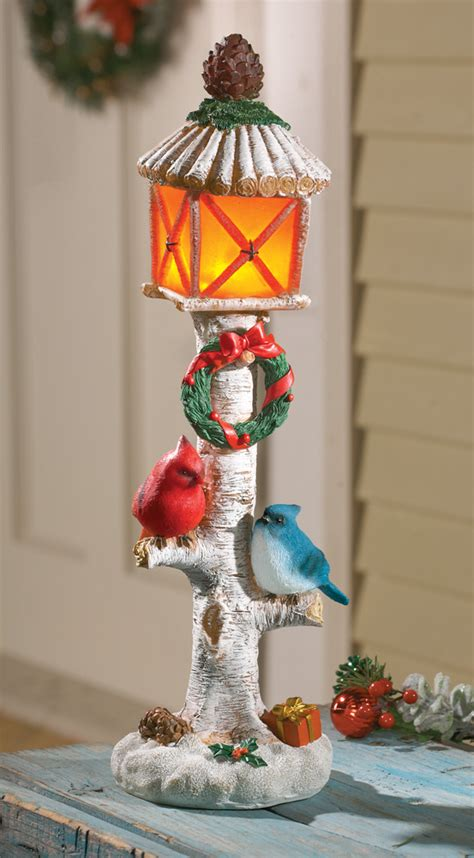 solar power lighted holiday cardinals tabletop l post
