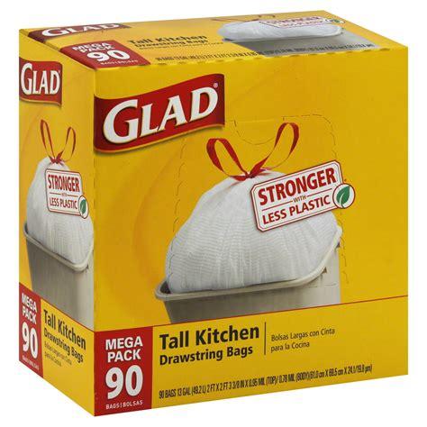 glad kitchen drawstring trash bags 13 gal 90 pack
