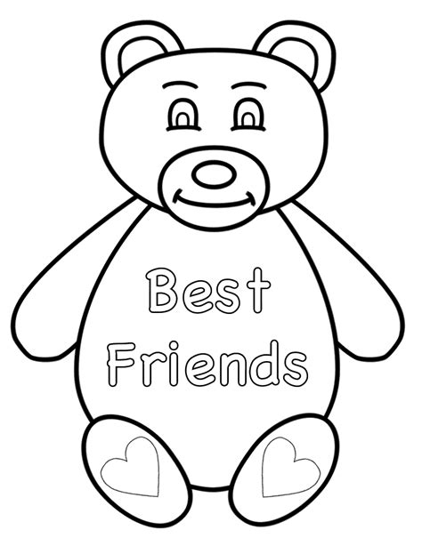 friendship color in card templates best friend coloring pages to and print for free