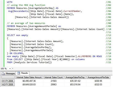 mdx query tutorial sql server 2008 sql server analysis services mdx average calculation