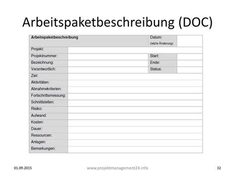 Word Vorlage Projekt Arbeitspaketbeschreibung Als Element Der Projektstrukturierung Word Vorlage Zum