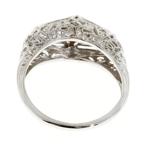 deco filigree engagement rings deco three filigree platinum gold engagement ring for sale at 1stdibs
