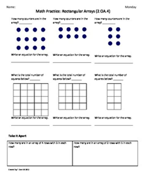 Ccss Math Worksheets by 2 Oa 4 Rectangular Array 2nd Grade Common By Tonya