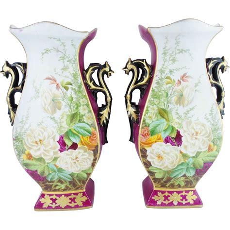antique porcelain l with roses antique porcelain quot vases quot roses flowers from