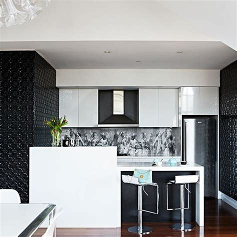 Splashback Ideas White Kitchen Black And White Kitchen With Feature Splashback Decorating Housetohome Co Uk
