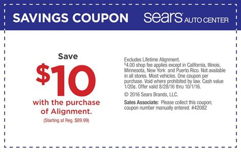 sears wheel alignment coupons september