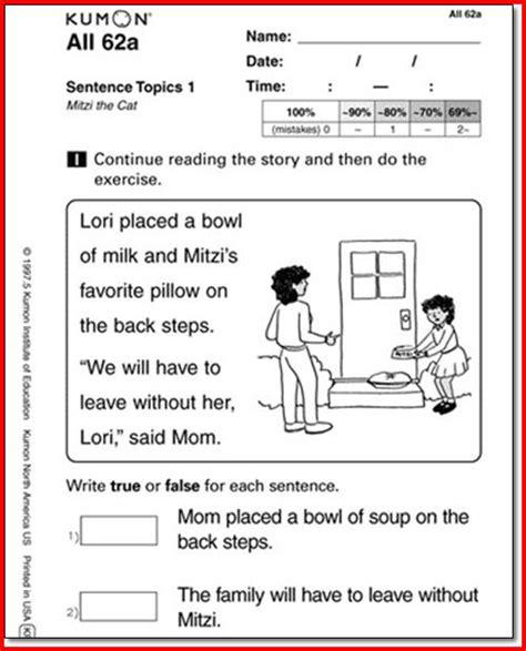 Printable Kumon Worksheets by Kumon Reading Worksheets For Kindergarten
