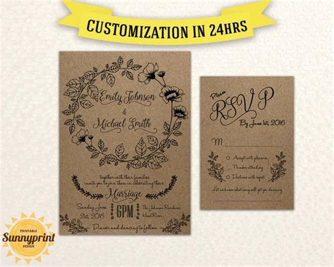 Rustic Rsvp Card Template Free by Printable Wedding Invitation Rustic Wedding Invitations