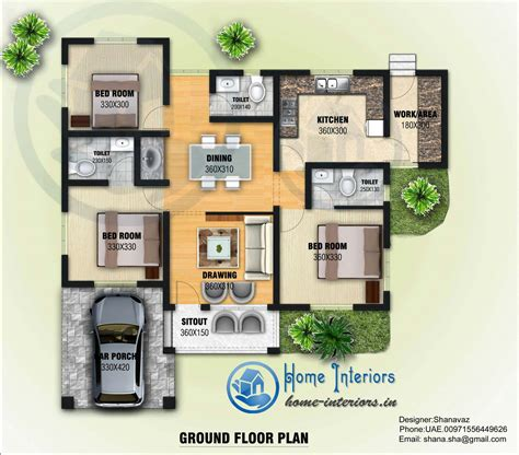 Home Design For 2000 Sq Ft Area 1300 Sq Ft Single Floor Contemporary Home Design