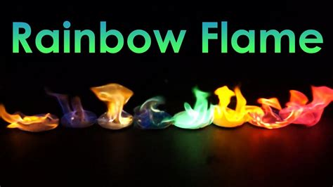different color flames rainbow coloured experiment