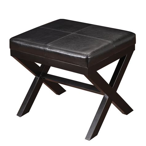 leather ottoman footstool adeco black bonded leather contrast stitch ottoman